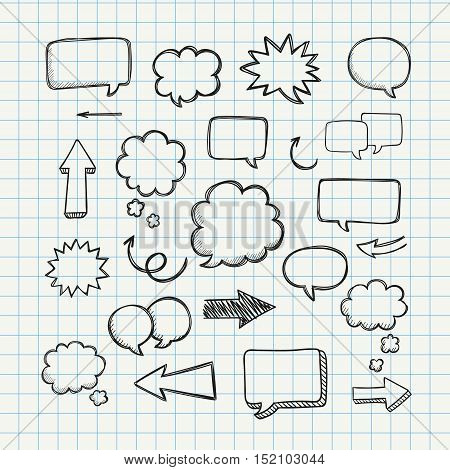 Speech, thougth, speaking hand drawn bubbles set. Talk clouds sketching. Balloon shape