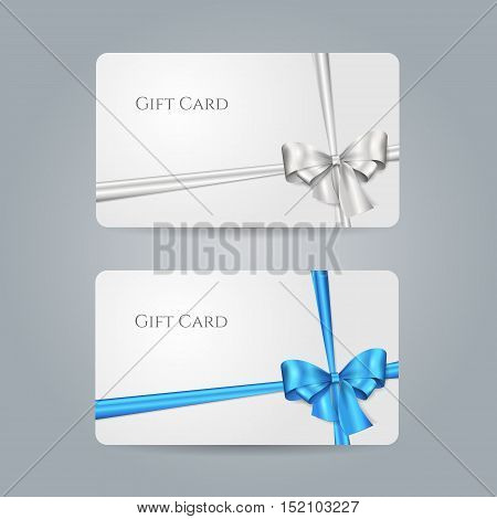 White gift card with blue, silver bow and ribbons. Vector template for design invitation and credit or discount card. Isolated from a background