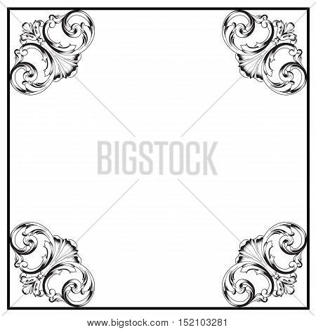 Black frame, vintage frame, baroque frame, scroll frame, ornamental frame, engraving frame, antique frame, acanthus frame, foliage frame, swirl decorative frame. vector
