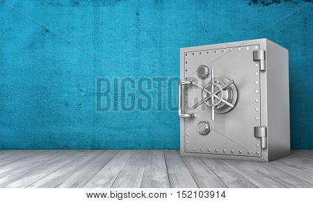 3d rendering of a steel safe box standing on wooden floor on the background of blue wall. Keeping money. Depository safe. Security and safety guarantees.