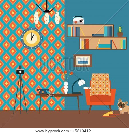 Living room interior with book shelves table armchair and camera on a tripod in the style of 70's vector illustration.