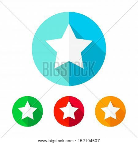 Star icon in flat design presented in four colors. Star with long shadow in the circle. Vector illustration.