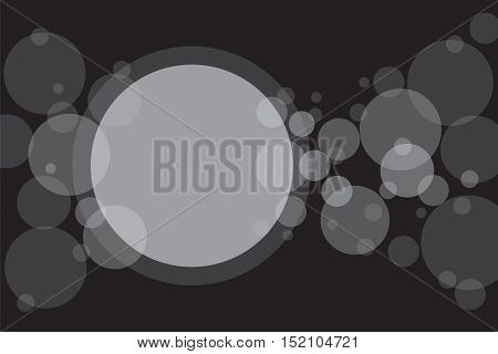 Crossing circles abstract background. White transparent bubbles randomly placed on black and one big circle with room for your text or symbols. Easy editable vector eps10 illustration.