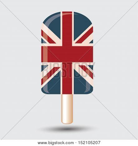Sweet British Flag Ice cream Bar Flal Vector Isolated Illustration Stock - England UK Flag Ice Cream