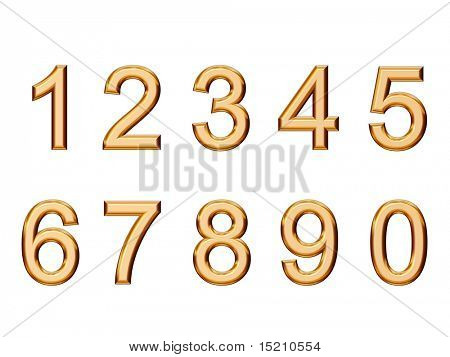 set of golden numbers isolated on white