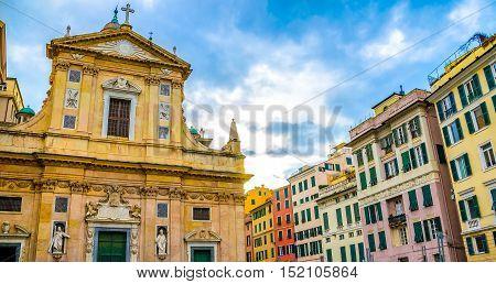 Genova colorful buildings church piazza giacomo matteotti liguria vivid italy Genoa architecture
