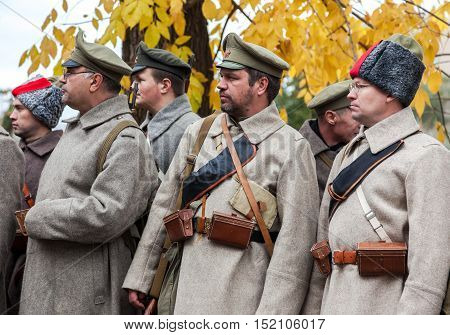SAMARA RUSSIA - OCTOBER 15 2016: Unidentified members of historical reenactment in revolt of the Czechoslovak Legion in the Russian Civil War against Bolshevik authorities in 1918