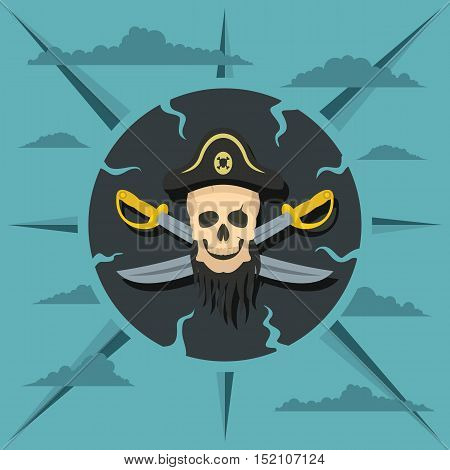 Pirate skull and crossed sabers badge in cartoon flat style. Vector illustration