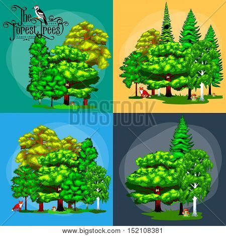 Summer Green Forest Tree and small animals in wild nature. Cartoon vector set trees in outdoor park. Outdoor trees in the park with branch, foliagles and leafs. Wild forest plants animals.