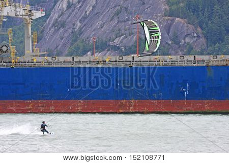 kitesurfer riding in the Howe Sound at Squamish