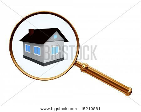 golden magnify with house model