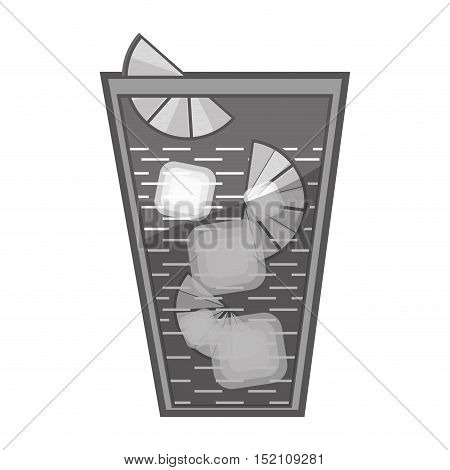 cocktail glass liquor drink with ice and lemon slices over white background. vector illustration
