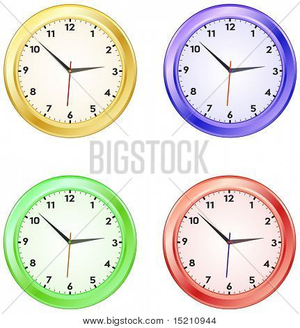 vector colored clock isolated on white