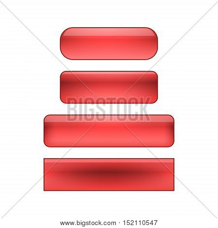 vector isolated blank web buttons set - red