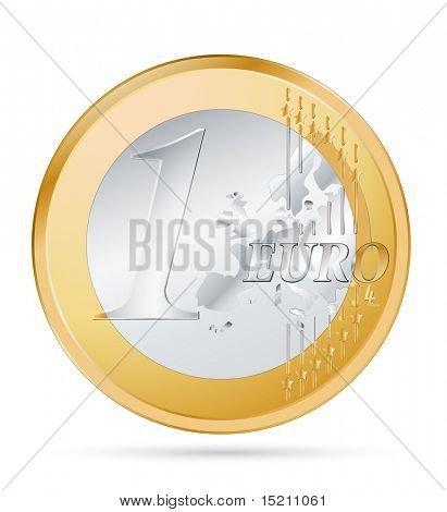 vector one euro coin on white
