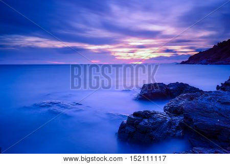 Silky sea and silky clouds during sunset.