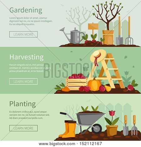 Gardening banners set. Plants, tools, equipment, harvest. Fruits, vegetables, flowers cultivation. Vector illustration