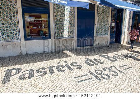 The Entrance Of The Famous Pasteis De Belem Store