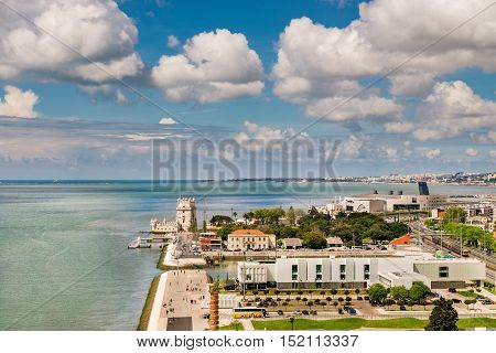 Aerial View Of Belem Tower On The Tagus River, Lisbon