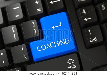 Coaching Concept: Modern Keyboard with Blue Enter Keypad Background, Selected Focus. 3D.