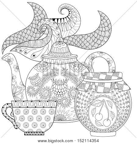 Zentangle stylized ornamental teapot with steam, cup of tea, jar jam, hot beverage with artistically doodle elements. Ethnic hand drawn vector illustration for adult coloring pages.