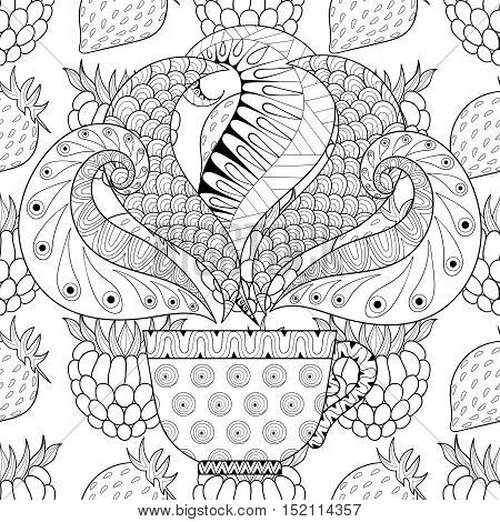 Zentangle stylized Сup of tea with steam on berries background, hot beverage with artistically doodle elements. Ethnic ornamental vector illustration for adult coloring pages.