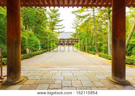 Toshodai-ji Temple Entrance Pillars Pathway Nara H