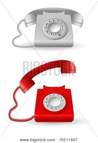 vector gray and red retro phones
