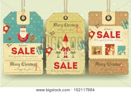 Christmas Sale Tags in Retro Style with Xmas Symbols - Santa Claus Elves. Winter Sell-out Labels Collection. Vector Illustration.