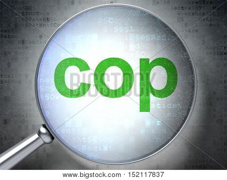 Law concept: magnifying optical glass with words Cop on digital background, 3D rendering