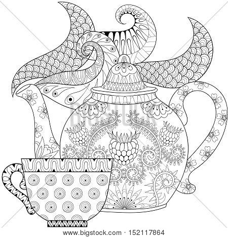 Zentangle stylized ornamental teapot with steam and cup of tea, hot beverage with artistically doodle elements. Ethnic hand drawn vector illustration for adult coloring pages.