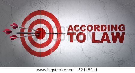 Success law concept: arrows hitting the center of target, Red According To Law on wall background, 3D rendering