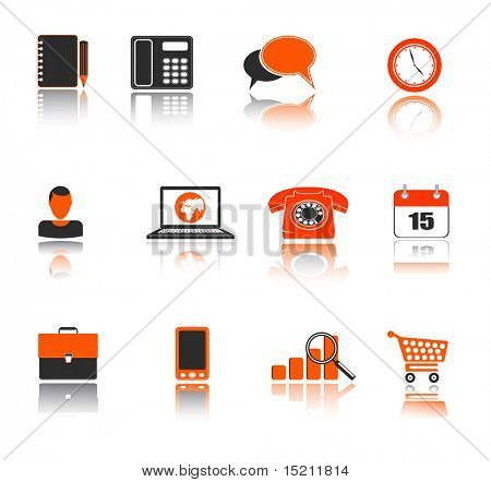 vector business icons on white
