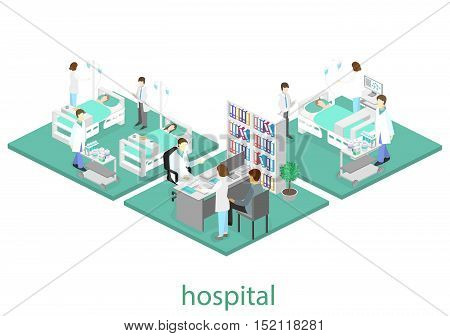 Isometric Flat Interior Of Hospital Room. Doctors Treating The Patient. Flat 3D Illustration