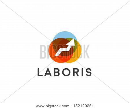Abstract arrow growth logo design template. Success development vector symbol. Growth and start-up creative logotype