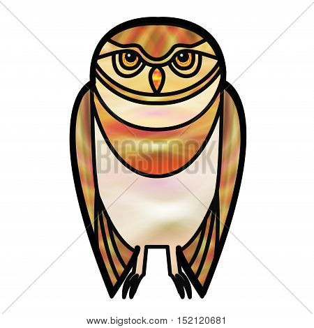 Gold burrowing owl drawn in simple tribal style with a stained glass effect.