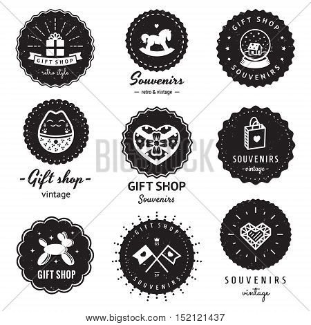 Gift shop and souvenirs logo-badges vintage vector set. Hipster and retro style. Perfect for your business design.