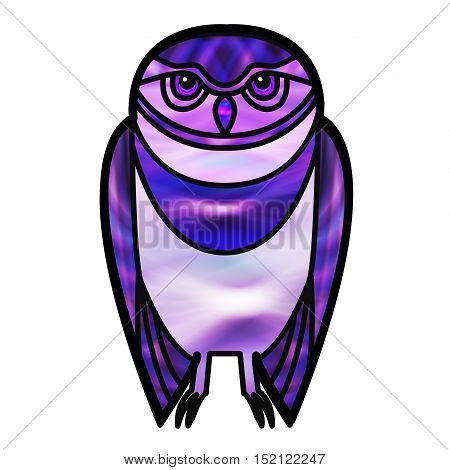 Purple burrowing owl drawn in simple tribal style with a stained glass effect.