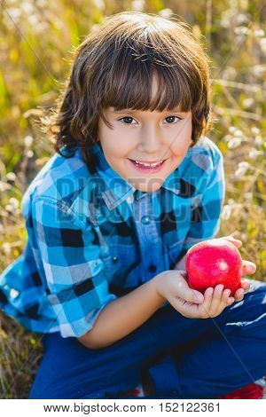 So juicy. Close up portrait little handsome boy biting off piece of apple outside.