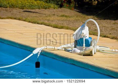 closeup on robot pool near private pool