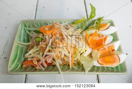 Thai food Papata salad is delicious and spicy food.Thai call