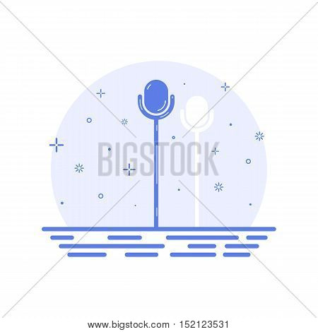 Vector illustration of icon concept retro microphone on stage in line style. Scene for comedy stand up, presentation, seminar, public interview, singing. Outine design isolated on white background.