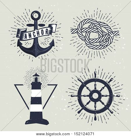 Set of retro nautical labels. Vector illustration for label, t-shirt print, vintage badges and logo design.