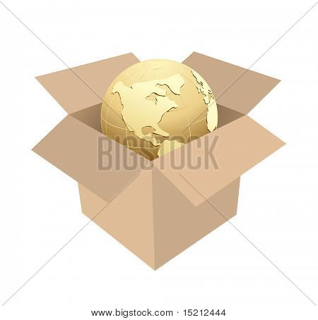 shipping box with globe