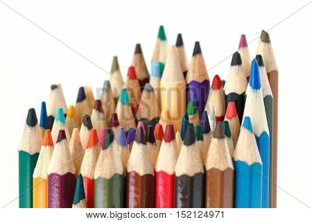 Row Vertical Colorful Multi-Color Of Pencils Isolated On White Background.