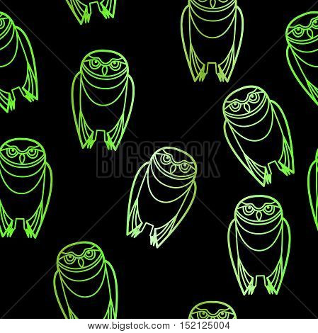 Seamless green burrowing owls over a black background.