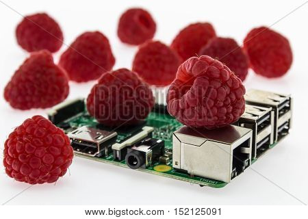 many raspberries and circuit board with rj45 hdmi and usb connectors