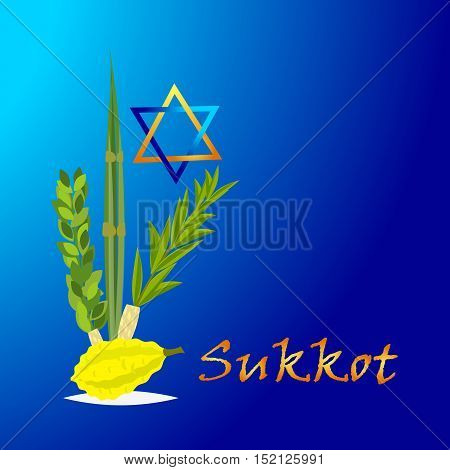 Sukkot Jewish holiday. Jewish torah with Lulav date palm Etrog citron Arava willow and Hadas myrtle Jewish festival Sukkot species lulav. Palm branch willow and myrtle leaves etrog.