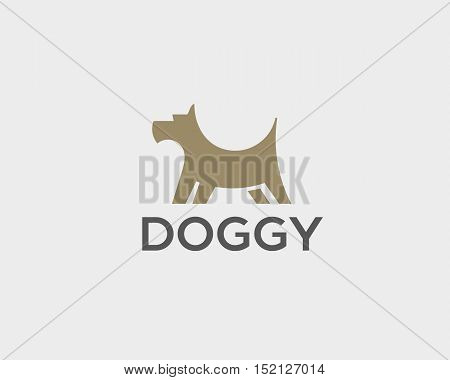 Puppy logo design template. Dog creative sign. Pet veterinary vector icon logotype