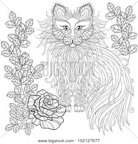Fluffy Cat in roses, zentangle style. Freehand sketch for adult antistress coloring page with doodle elements. Ornamental artistic vector illustration for tattoo, t-shirt print. Animal collection.